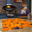 Tapis patchwork en peaux de vache orange